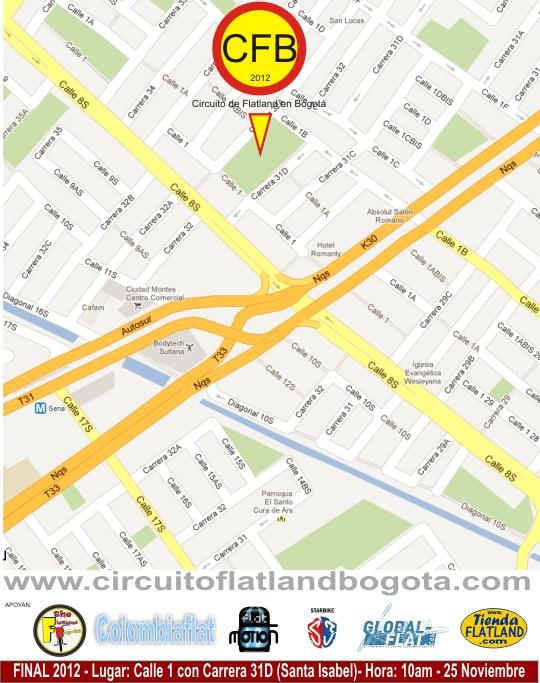 Mapa Final Circuito de Flatland en Bogotá 2012
